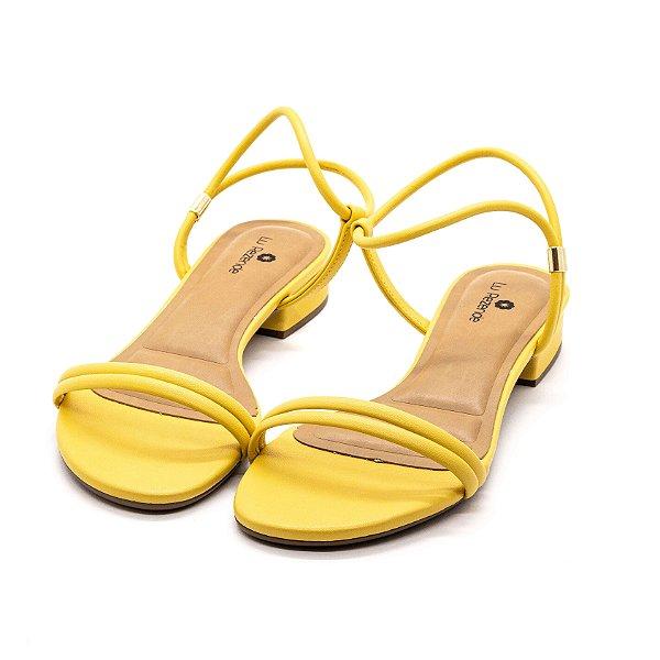 Sandália Salto Grosso Lu Rezende Feminina Camomila