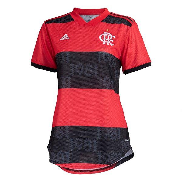 Camisa Oficial Adidas CR Flamengo 21/22 Feminina Vermelha