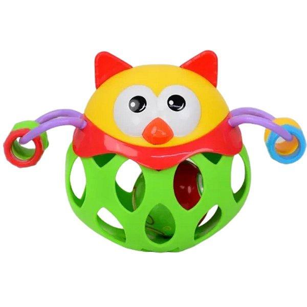 Chocalho Amiguinho Colorido  Coruja - BBR Toys
