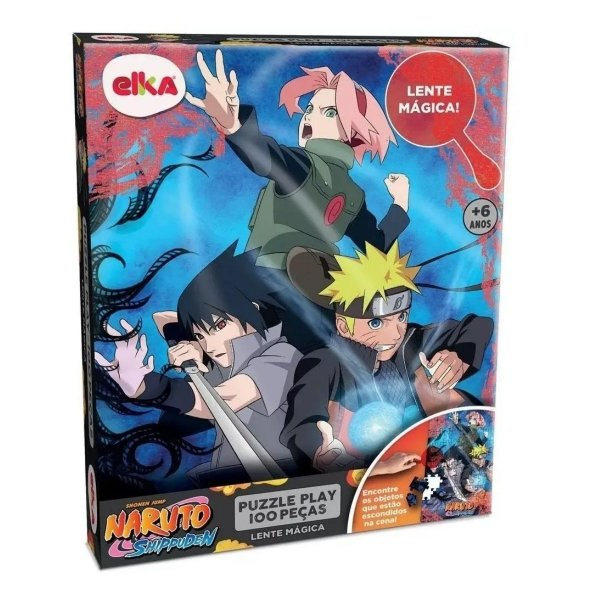 Puzzle Play 100Pcs Lente Mágica - Naruto Shippuden - Elka