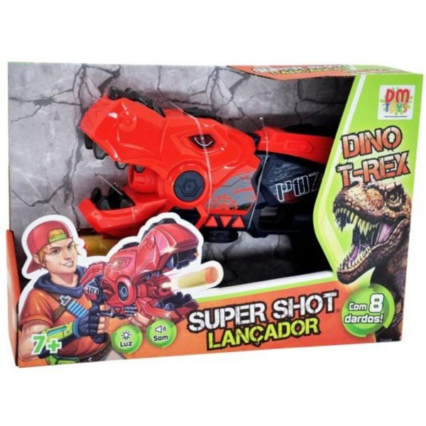 Lançador Super Shot Dino T Rex - Dm Toys