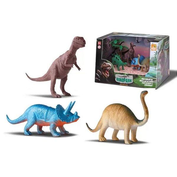 Boneco bee dinopark collection com 3 dinossauros - Bee Toys