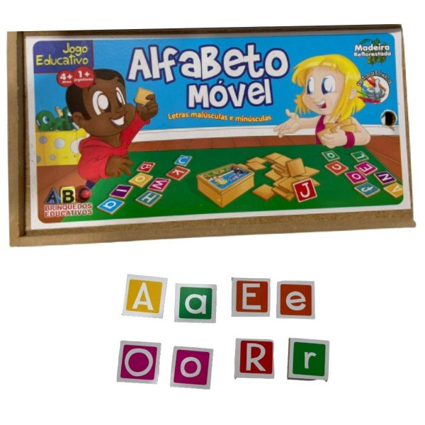 Alfabeto Movel de madeira educativo (128 Pecas)