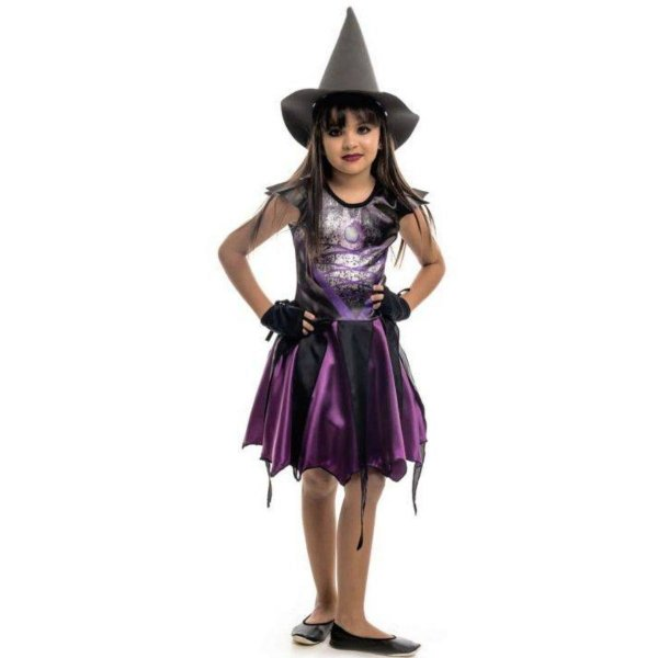 Fantasia Halloween Bruxinha Angeline Roxa Com Chapéu