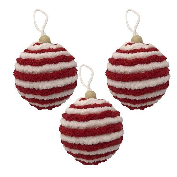 Kit com 3 bolas Vermelhas e branca listradas
