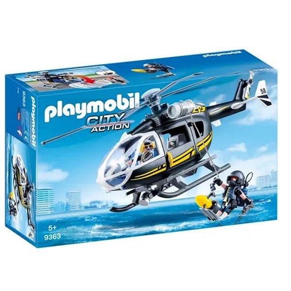 Playmobil Unidade Tatica Com Helicoptero City Action  9363