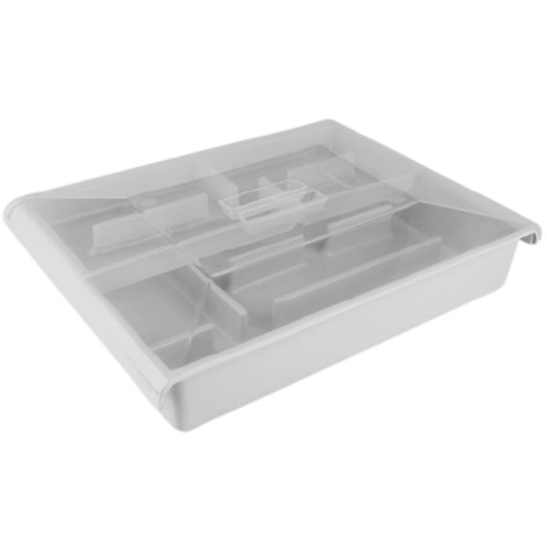 Porta Talheres de Plástico com Gaveta e Tampa - Plasútil