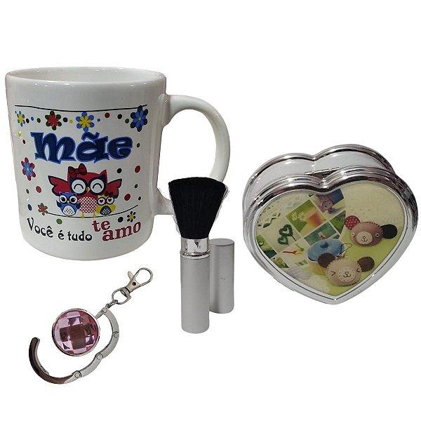 Kit Presente Dia Das Mães Caneca, Pincel De Maquiagem, Caixinha De Música E Chaveiro