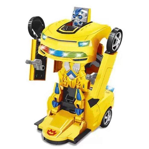 Carro Robô Warriors Bate E Volta Amarelo - Zoop Toys