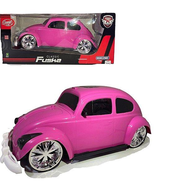 Fusca Fuska Clássico cor de Rosa 35 cm Roda livre Brinquemix