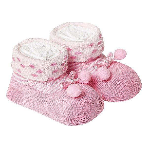 Meia Bebê Bolinha Rosa - Divertidas