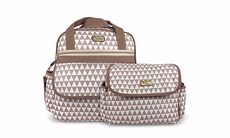 Kit Bolsa Maternidade que vira mochila com frasqueira e trocador - Caramelo Chevron