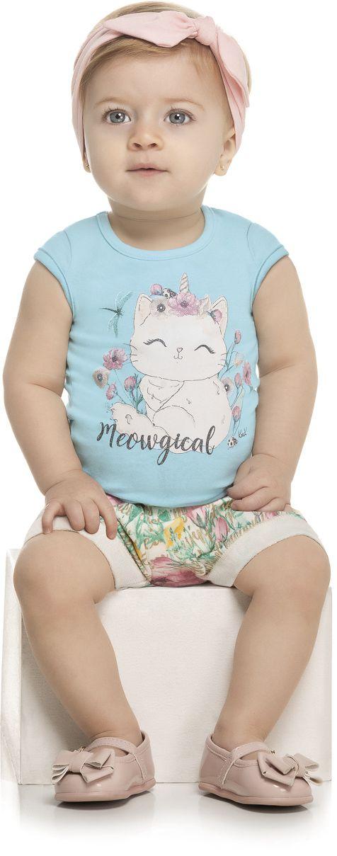 Conj infantil Cotton Penteado e Shorts Moletinho - Gatinha