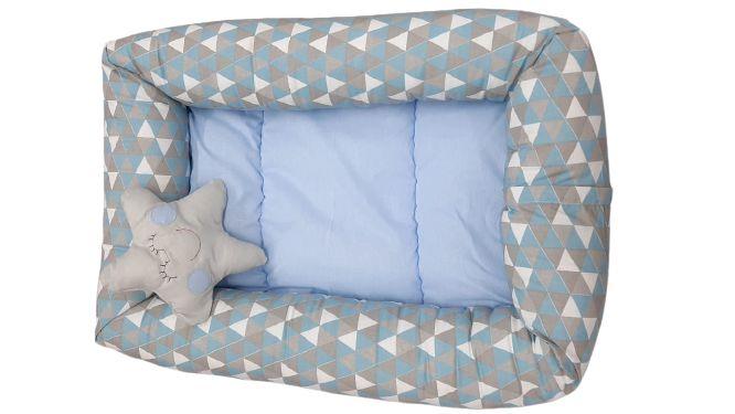 Ninho Redutor - Bebê Chevron Azul Claro - C/ Almofada