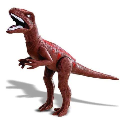 Dinossauro Velociraptor Com Som Marrom Adijomar