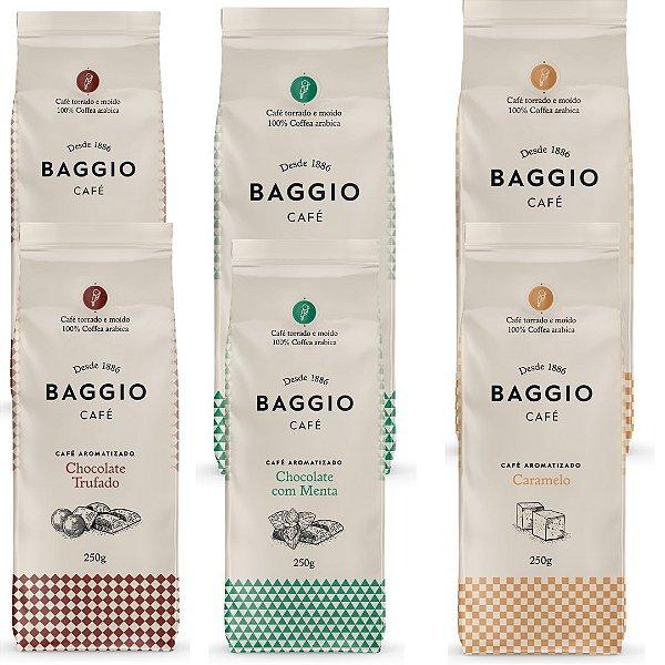 6 Cafés Aromatizados Baggio moído 250g  (Chocolate Trufado / Chocolate com Menta e Caramelo)