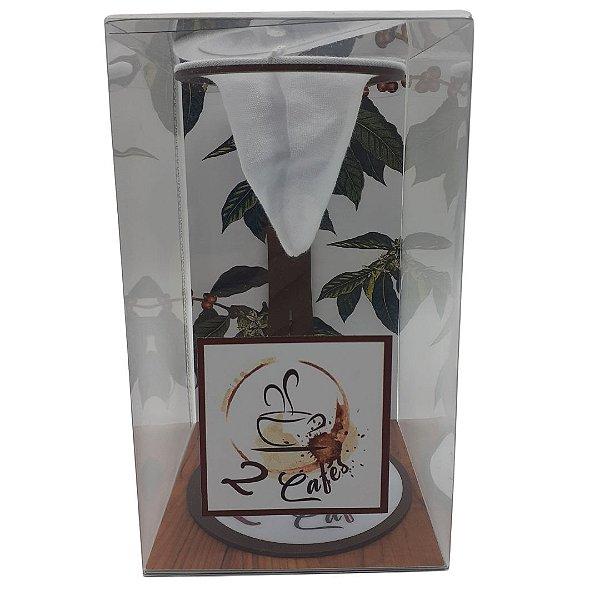 Coador de café Individual com filtro de pano (Suporte Marrom)