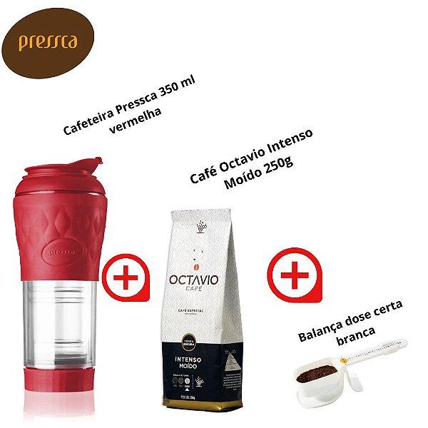 Kit com Cafeteira Pressca 350ml Vermelha + Café Octavio 250g Intenso + Balança dose certa branca