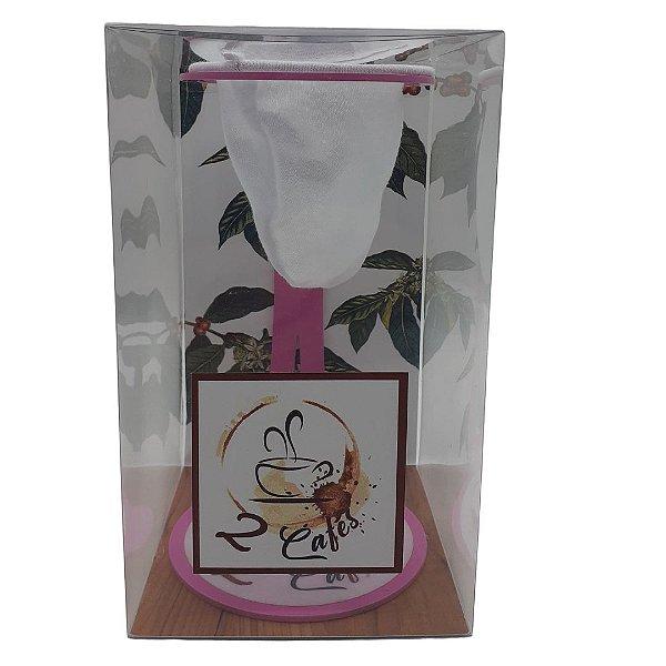 Coador de café Individual com filtro de pano (Suporte Rosa)