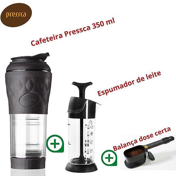 Kit Pressca cafeteira Portátil Preto + Espumador de Leite + Balança dose certa (Preto)