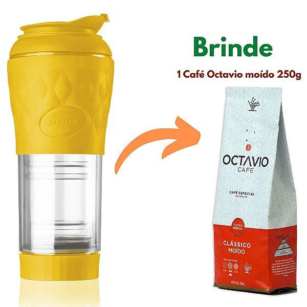 Cafeteira Pressca Amarelo 350 ml + 1 Café especial Octavio moído 250g (brinde)