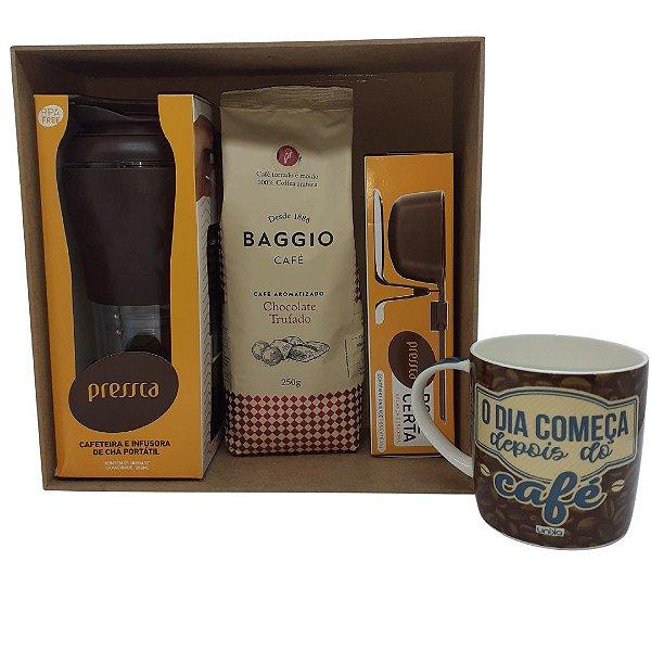 Box Presente em MDF com Cafeteira Pressca Preta + Café Baggio Moído chocolate trufado + Balança + Caneca 300ml