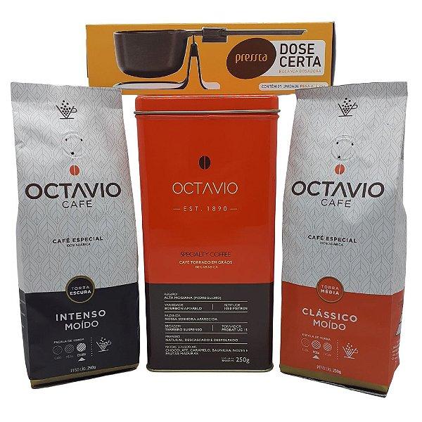 Kit com 2 Cafés Octavio Moído 250g Clássico e Café Intenso + Balança dose certa + Lata de brinde (Exclusivo 2 Cafés)