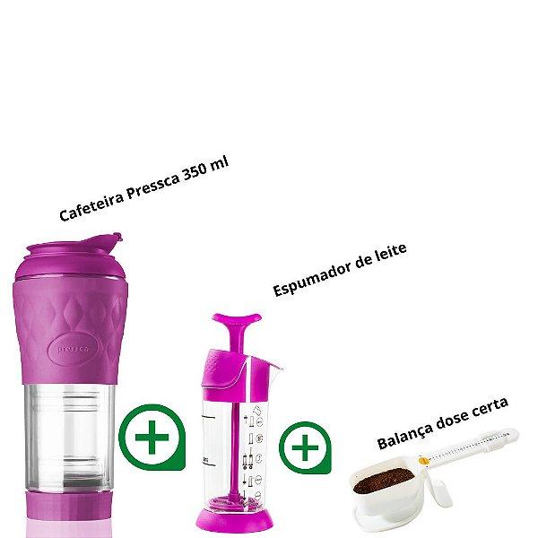 Kit Pressca cafeteira Portátil Rosa Quartzo + Espumador de Leite + Balança dose certa (Rosa Quartzo)