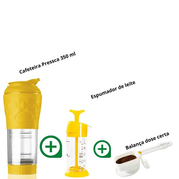 Kit Pressca cafeteira Portátil Amarelo + Espumador de Leite + Balança dose certa (branco)