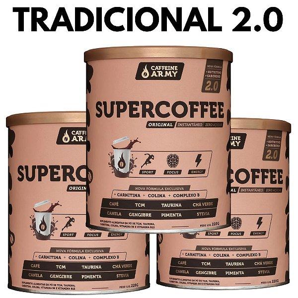 3 Latas de Supercoffee 2.0 Tradicional de 220g