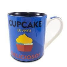 Caneca Porcelana Cupcake Azul 390ml