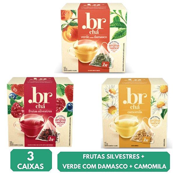 3 Chás em Sachês - Frutas Silvestres + Verde com Damasco + Camomila