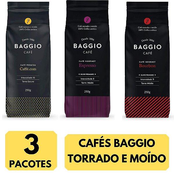 3 Cafés Baggio moído 250g (Bourbon - Caffé.com - Espresso)