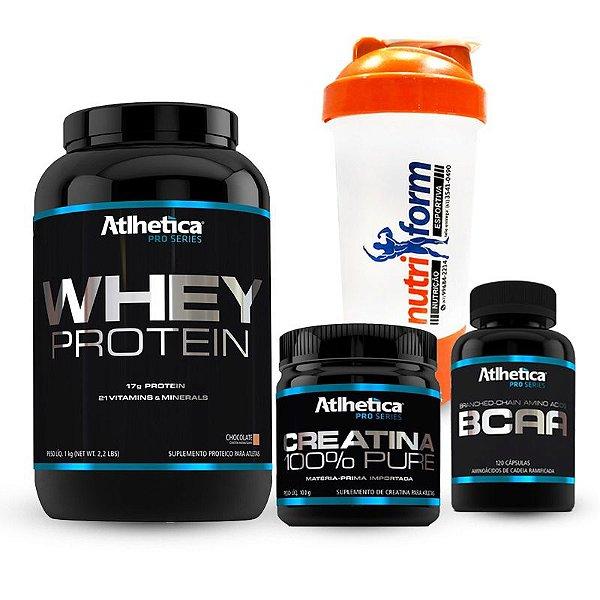 Whey Protein 907g + BCAA 120 caps + Crea. 100% Pure 100g + Coqueteleira