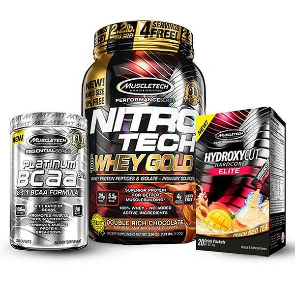 Kit Definição Muscletech - Nitro Tech Whey Gold 1KG + BCAA Platinum + Hydroxycut Hardcore Elite