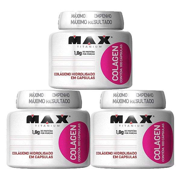 3 Colagenos Hidrolisados - Max Titanium 100caps/uni + BRINDE COQUETELEIRA