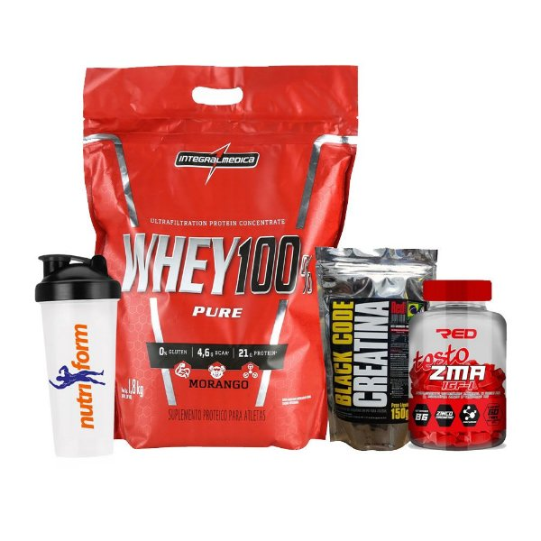 WHEY 100% PURE 907g + BLACK CODE CREATINA 150g + TESTO ZMA RED 60CAPS + COQUETELEIRA
