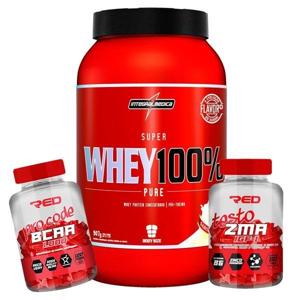 WHEY 100% 907g + BCAA PRO CODE RED SERIES + ZMA RED SERIES