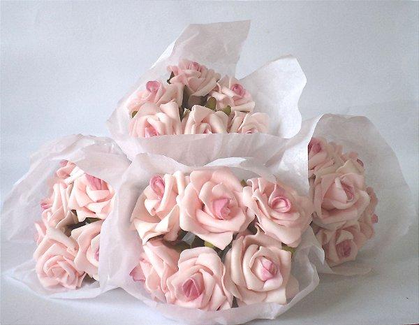 Mini buquê de rosas artificiais em EVA, cor rosa diamante