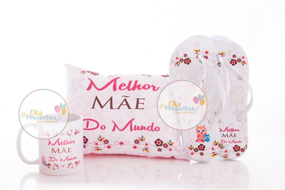 Presentes para Mães, kit almofada, chinelos e caneca