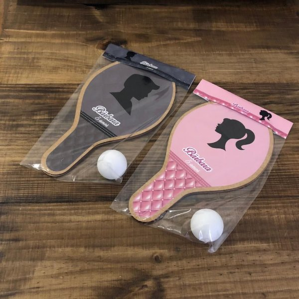 Kit Raquetes ping pong, personalizado Barbie e Ken
