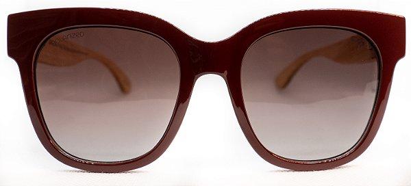 Óculos de Sol Feminino Chiili Beans Quadrado Vinho e haste de bambu