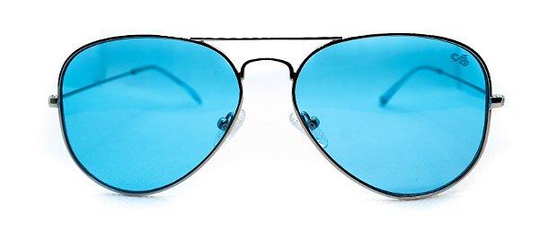Óculos de Sol Feminino Chiili Beans Aviador Azul