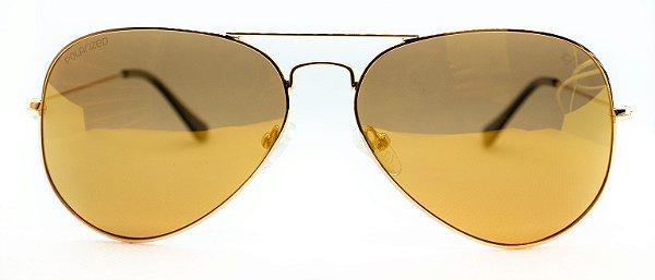 Óculos de Sol Unissex Chiili Beans Aviador Dourado