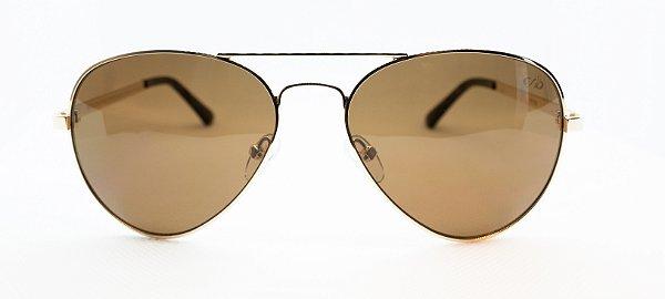 Óculos de Sol Unissex Chilli Beans Aviador Marrom Dourado