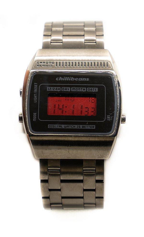 Relógio Chilli Beans Digital Unissex Metal Cinza