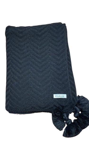 Colcha de Berço / Minicama em Tricot 100x160cm c/ franjas - LR1907 NEW BLACK