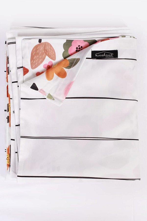 Capa de Edredom Dupla Face - Pauta/Flores