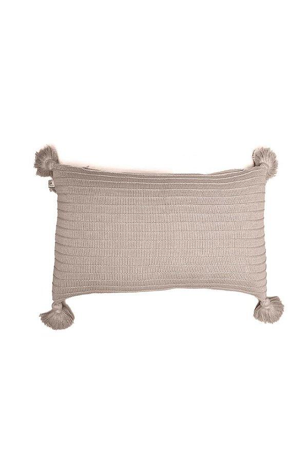 Almofada em Tricot - 35x55cm c/ Franjas - Cor: Una