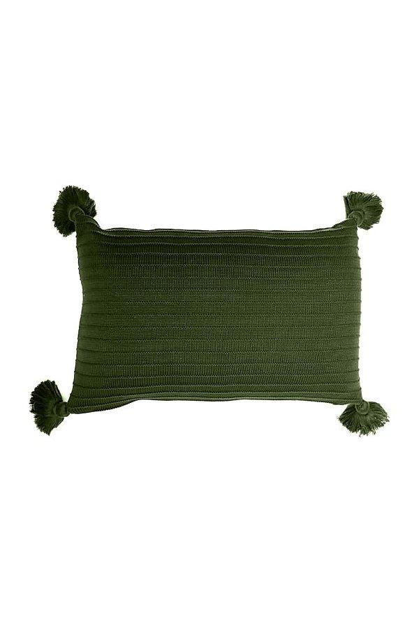 Almofada em Tricot - 35x55cm c/ Franjas - Cor: Verde Militar